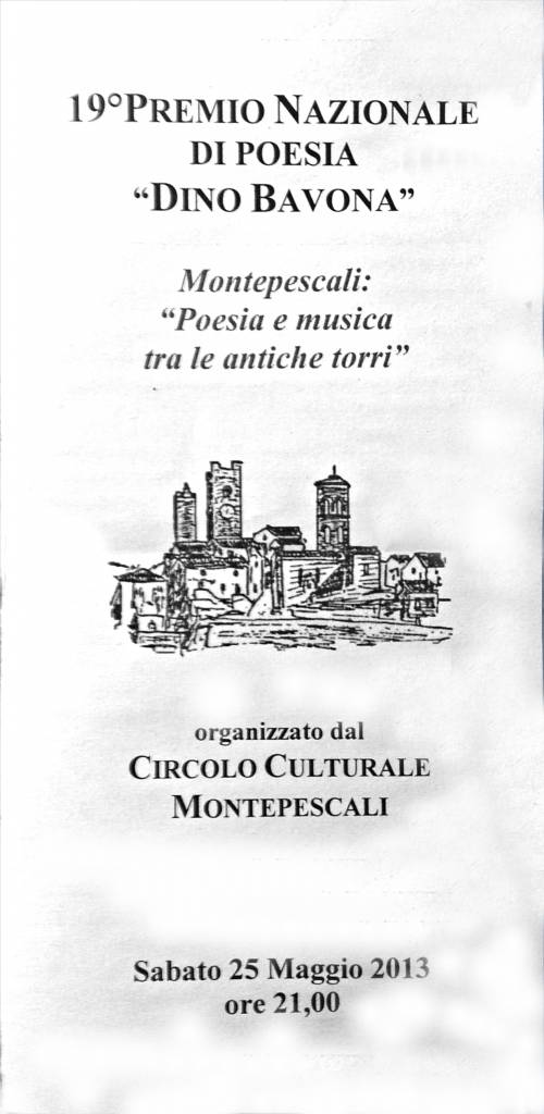 """Montepescali: in programma sabato la premiazione del concorso di poesia """"Dino Bavona"""""""