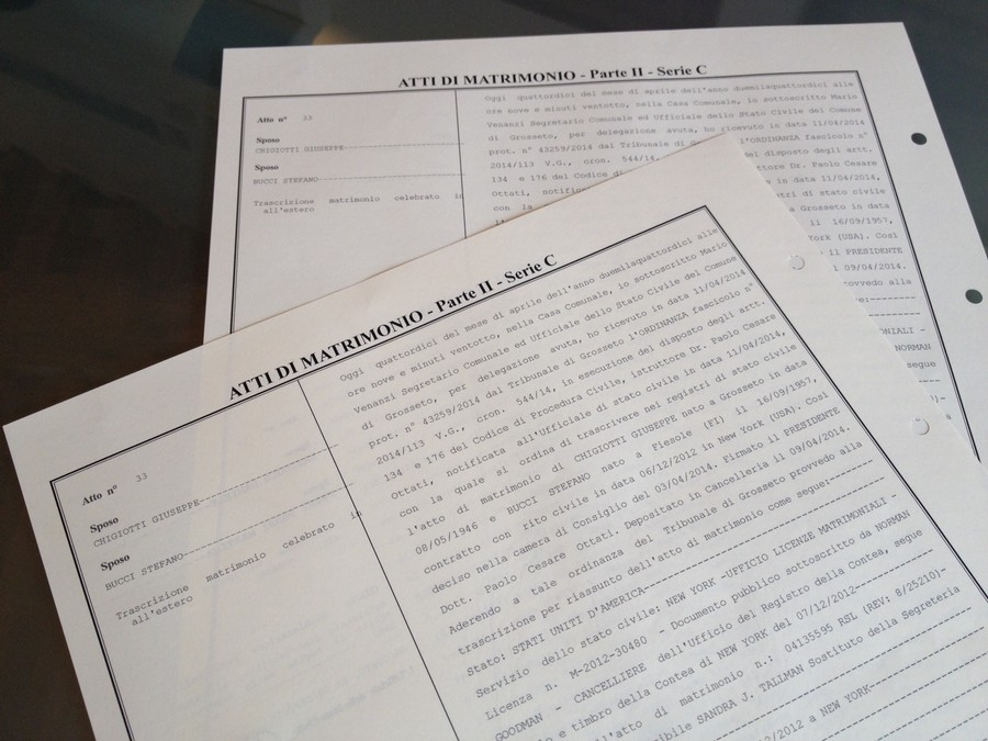 Photo of Matrimonio Chigiotti-Bucci: ufficializzata oggi la trascrizione nel registro di stato civile