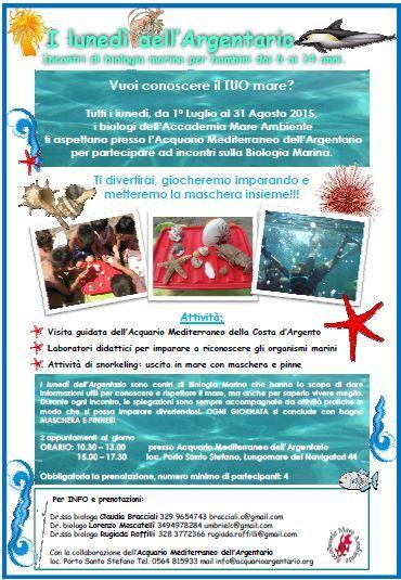 Arrivano i luned dell 39 argentario con attivit di biologia marina per bambini - Bagno mio e tuo marina di grosseto ...
