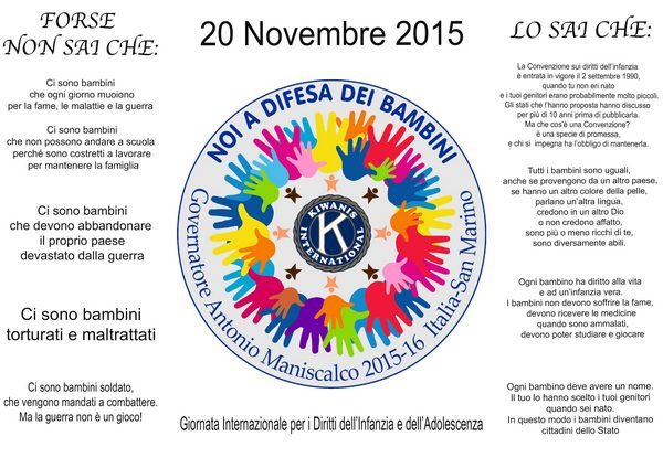 Giornata internazionale dei diritti dell'infanzia: il Kiwanis Club Follonica entra nelle scuole