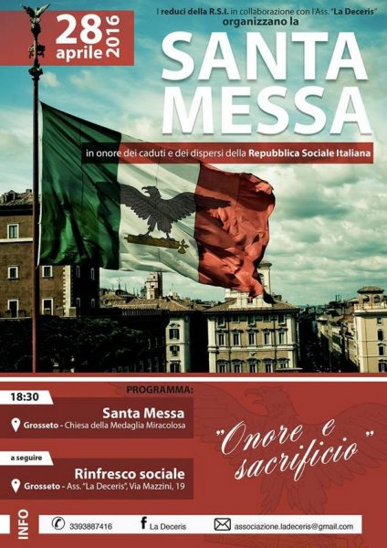 Domani la Messa per ricordare i caduti della Repubblica Sociale Italiana