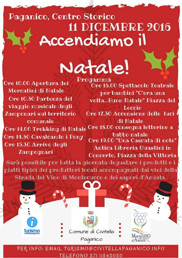 Ecco il programma delle Festività natalizie di Civitella Paganico