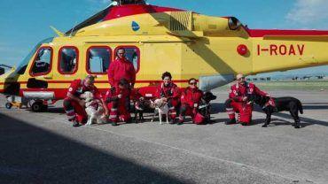 Addestramento del Nucleo cinofili della Croce Rossa: i cani si esercitano su Pegaso