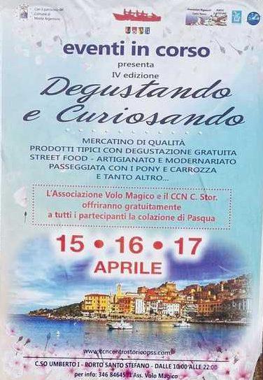 """""""Degustando e Curiosando"""": mercatino per il ponte di Pasqua a Porto Santo Stefano"""