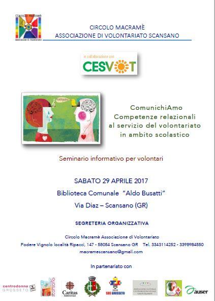 Volontariato e scuola: a Scansano un seminario per attivare reti di sostegno