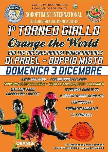 """Una bandiera arancione e un torneo di Padel per dire """"No"""" alla violenza contro le donne"""