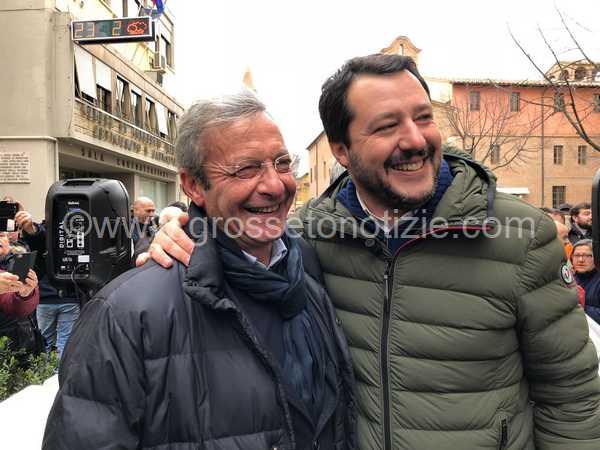 """Verso le Politiche, Salvini a Grosseto: """"Lolini uomo giusto per tutelare la Maremma"""""""