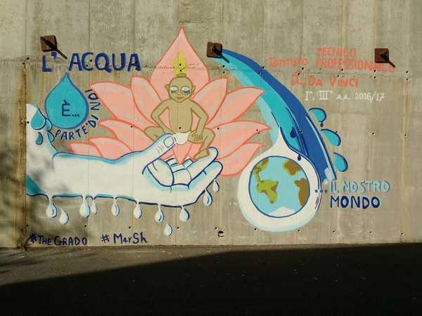 """Progetto """"Acquamia"""": inaugurato il murales realizzato dagli studenti"""