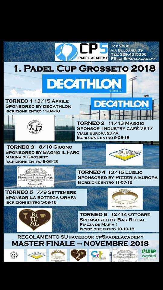 Al via la Padel Cup Grosseto 2018: nel weekend il primo torneo