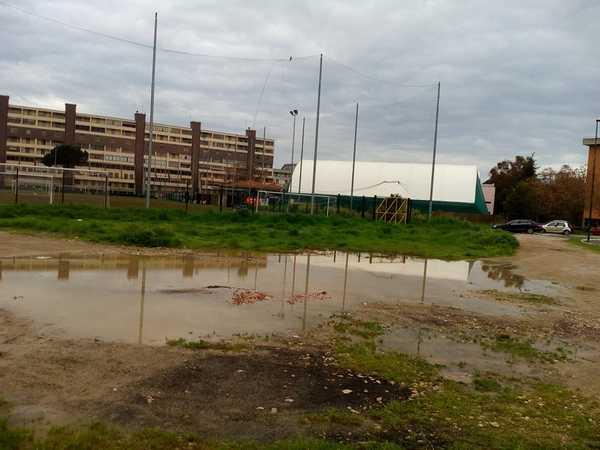 """Il Pd: """"Lago di acqua piovana dietro al campo da calcio, pericoli per la salute dei ragazzi"""""""