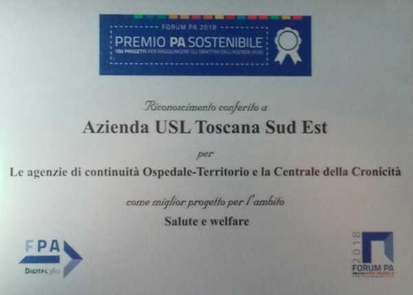 Centrale della cronicità: la Asl Toscana Sud Est premiata per il progetto