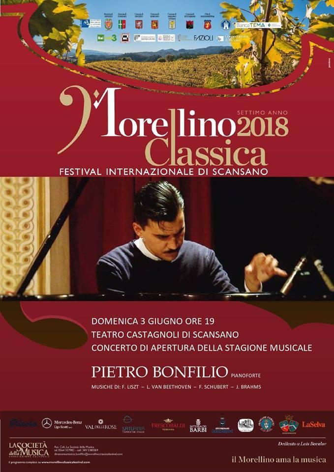 Concerto inaugurale per il Morellino Classica Festival: sul palco il pianista Pietro Bonfilio