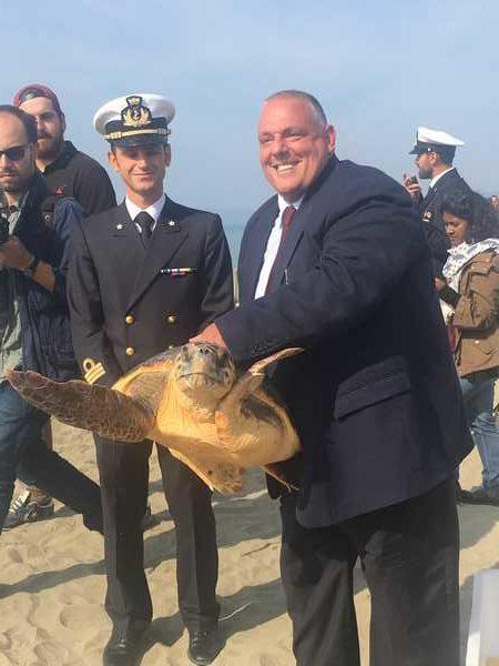 Marina è tornata nel suo mare: liberata la tartaruga rimasta imprigionata in una rete