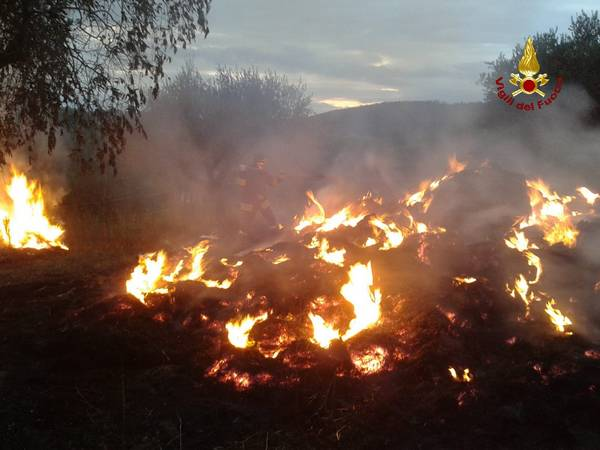 Incendio a Fenice Capanne: in fiamme 50 rotoballe
